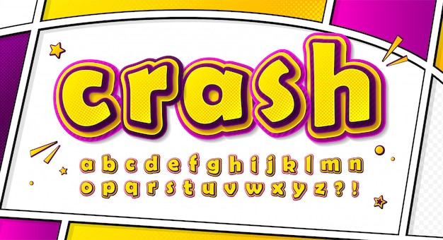 Cartoonish comics font, alphabet in style of pop art. multilayer yellow-pink letters with halftone effect on comic book page Premium Vector