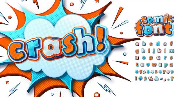 Cartoonish comics font. funny colorful alphabet Premium Vector