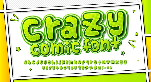 Cartoonish comics font, green alphabet in style of pop art. multilayer letters with halftone effect on comic book page Premium Vector