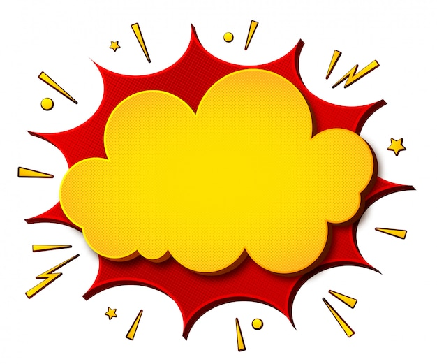 Cartoonish yellow-red comics banner щи white background. boom of speech bubbles Premium Vector