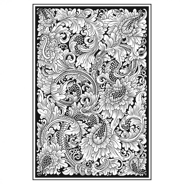 Carved openwork pattern card Premium Vector