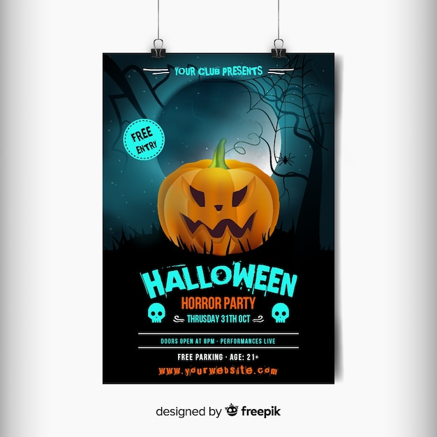 Carved orange angry pumpkin halloween party poster Free Vector
