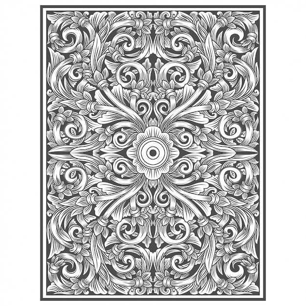 Carved wood with floral drawing Premium Vector