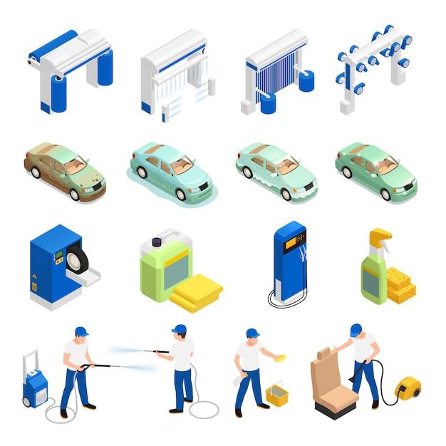 Carwash icons set with automatic car wash symbols isometric isolated Free Vector