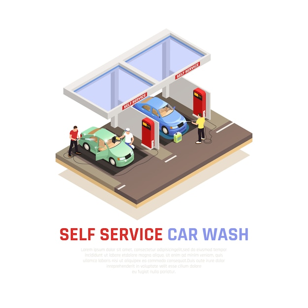Carwash isometric composition with self service wash symbols Free Vector