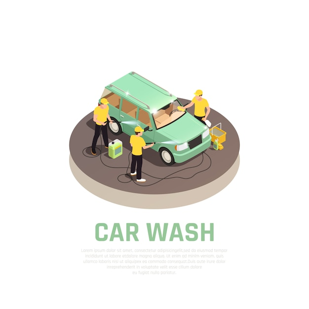 Carwash isometric consept with car wash service symbols Free Vector