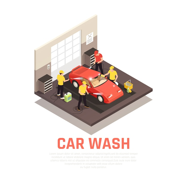 Carwash isometric consept with self service and automatic car wash symbols Free Vector