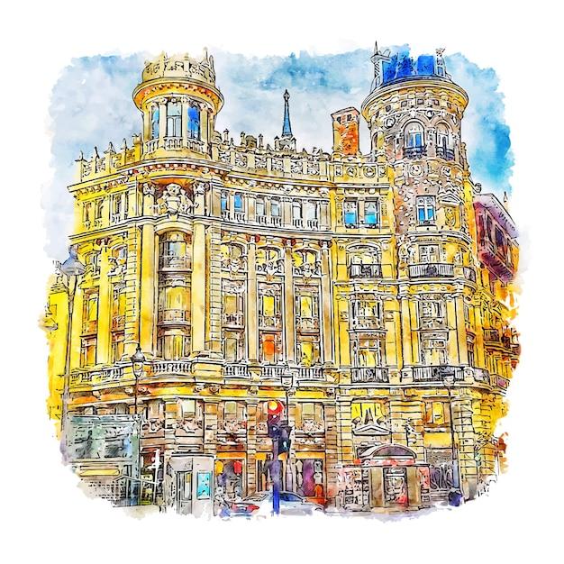Casa de allende madrid watercolor sketch hand drawn illustration Premium Vector
