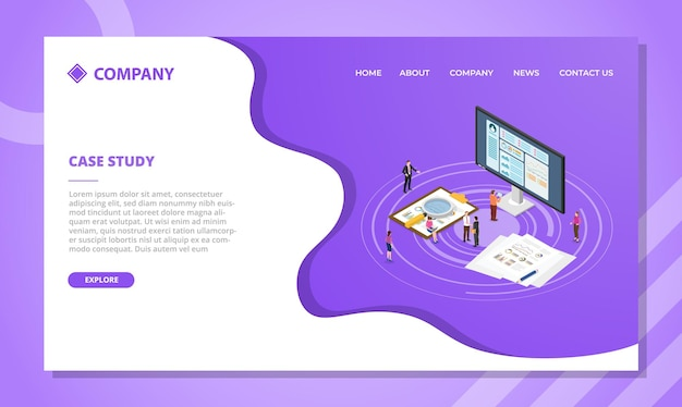 Case study concept for website template or landing homepage design with isometric style vector illustration Free Vector