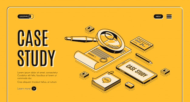 Case study isometric banner, information research Free Vector