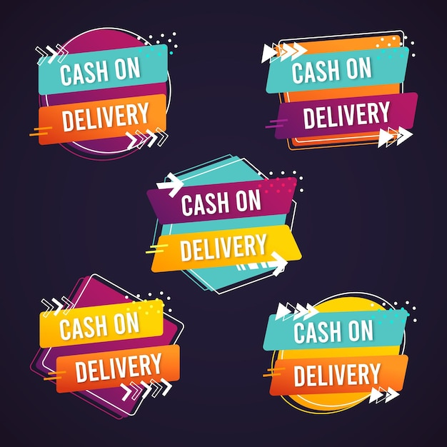 Cash on delivery badge collection Free Vector