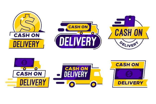 Cash on delivery badge collection Premium Vector