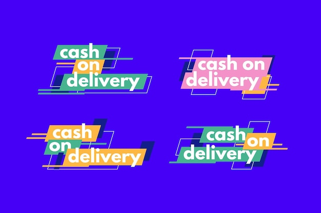 Cash on delivery badge pack Premium Vector