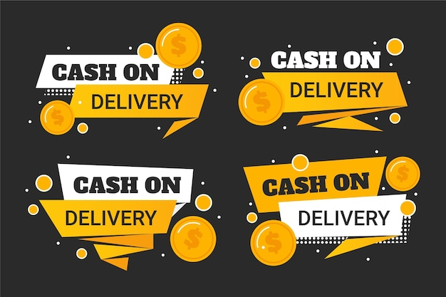 Cash on delivery badge set Free Vector