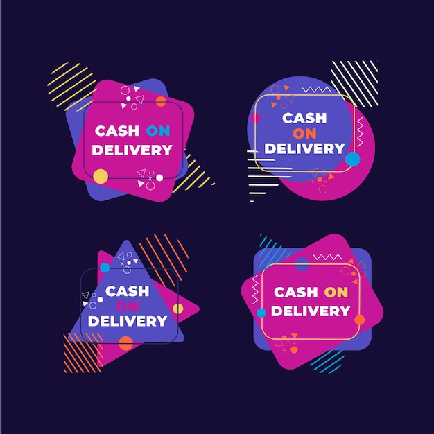 Cash on delivery badges collection Free Vector