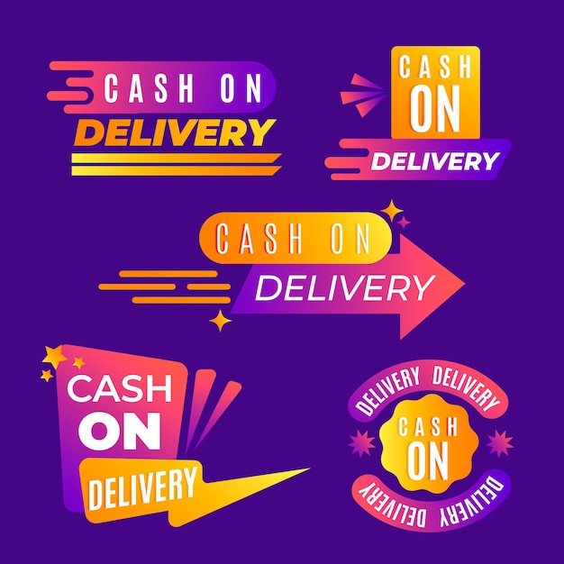 Cash on delivery badges pack Free Vector