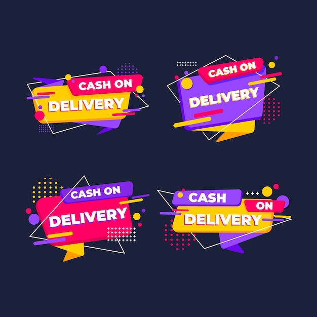 Cash on delivery badges set Free Vector