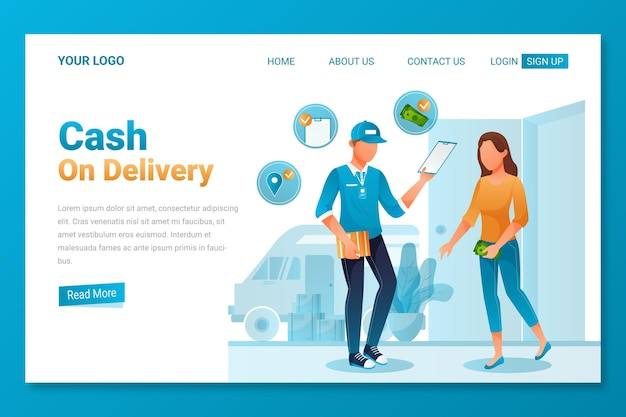 Cash on delivery concept - landing page Free Vector