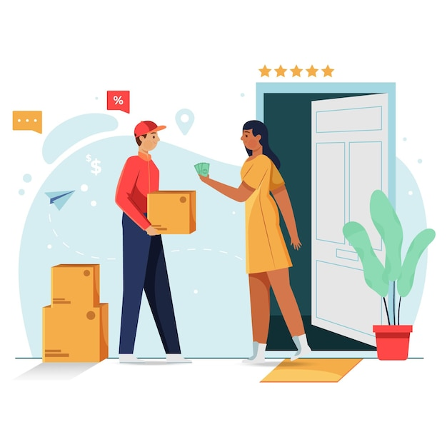 Cash on delivery concept Free Vector