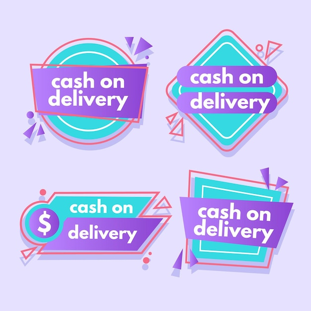 Cash on delivery label collection Premium Vector