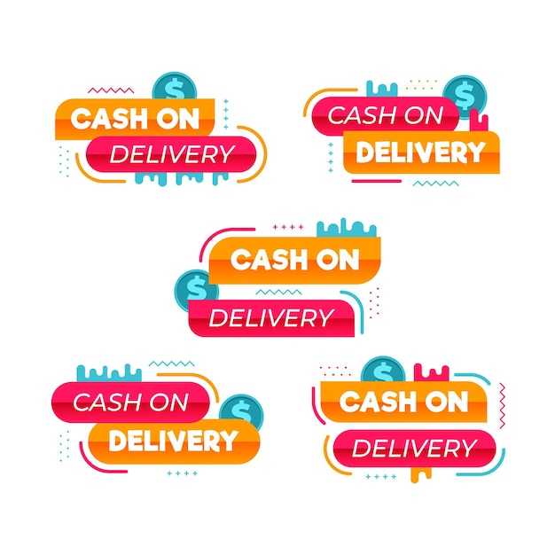 Cash on delivery label collection Free Vector