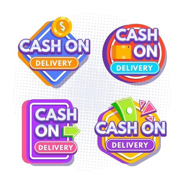 Cash on delivery labels set Free Vector