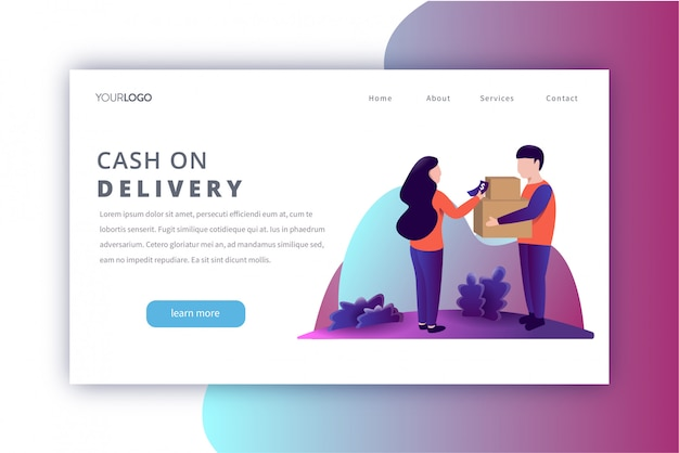 Cash on delivery landing page illustration Premium Vector
