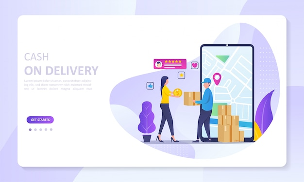 Cash on delivery service banner landing page, and order tracking Premium Vector