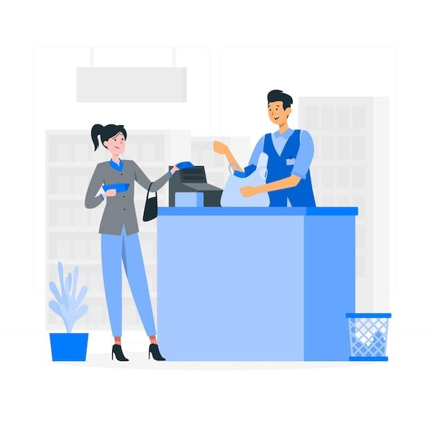 Illustrazione di concetto di pagamento in contanti Vettore gratuito