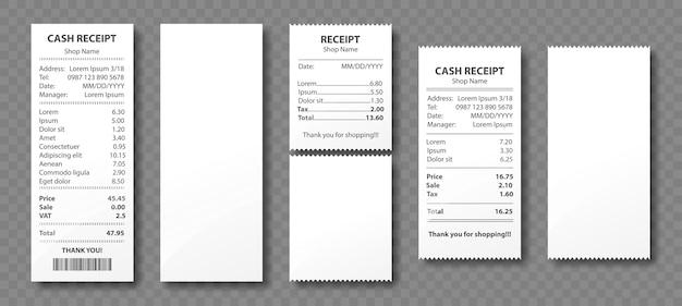 Квитанция наличными, бумажный счет, счет-фактура покупки, проверка суммы розничной торговли супермаркета и оплата продажи магазина полной стоимости, пустые и заполненные пробелы, изолированные на прозрачном фоне. реалистичный набор 3d Бесплатные векторы