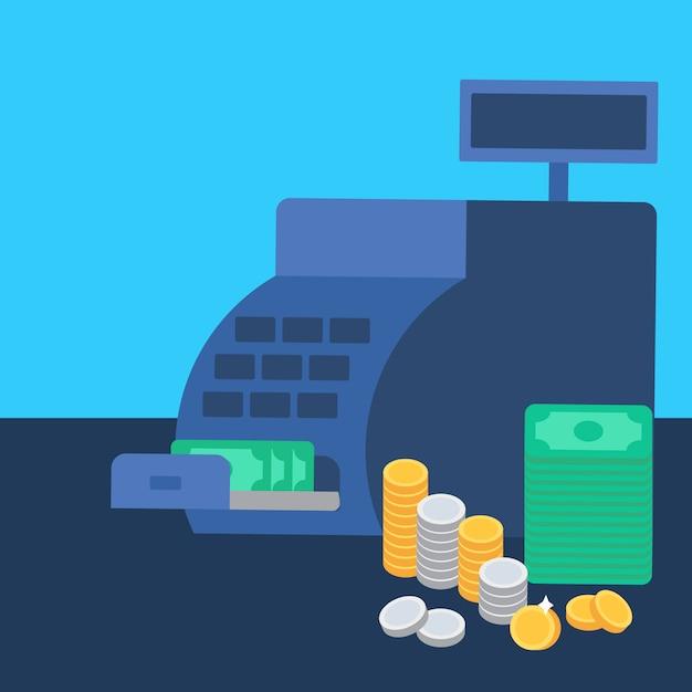 Cash register and money Premium Vector