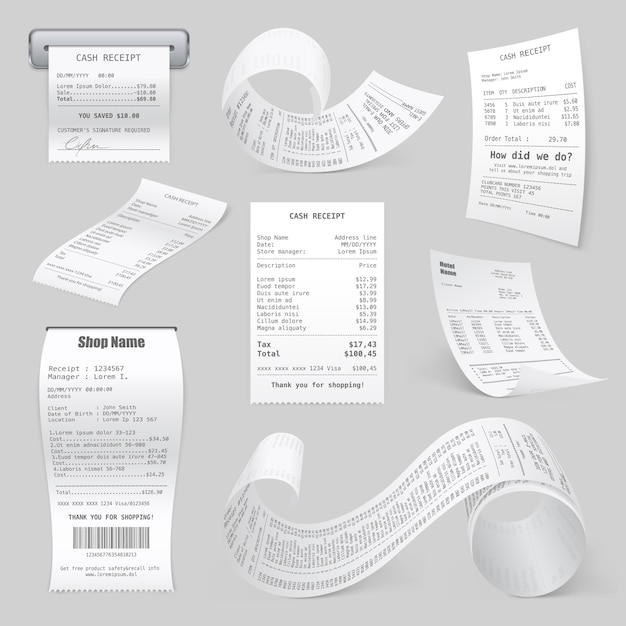 Cash register printed receipts realistic collection Premium Vector