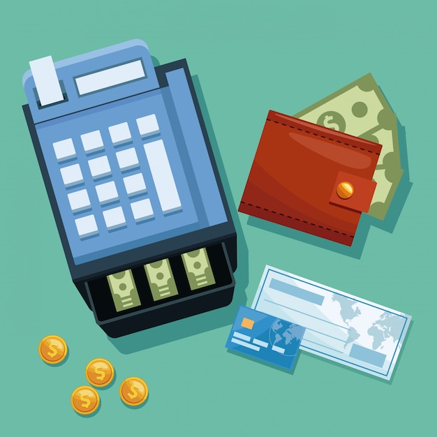 cash register with check and credit card vector premium download