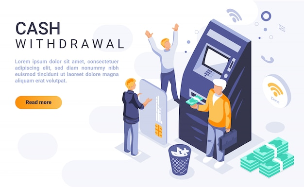 Cash withdrawal landing page banner  with isometric illustration Premium Vector