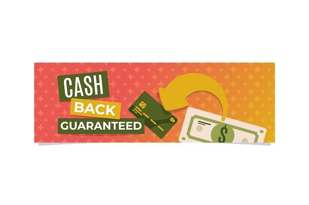 Modello di banner di rimborso con illustrazioni Vettore gratuito