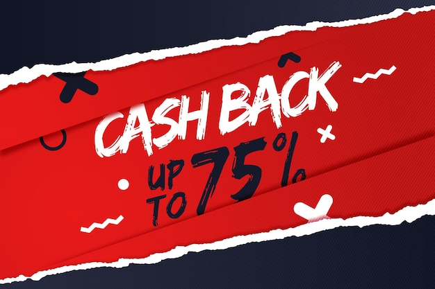 Banner cashback con sconto speciale Vettore gratuito