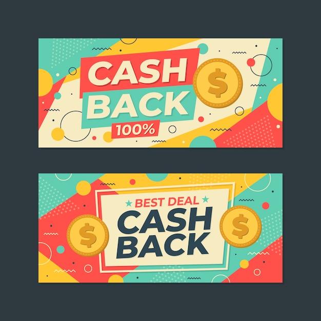 Raccolta di cashback del modello di banner web Vettore gratuito