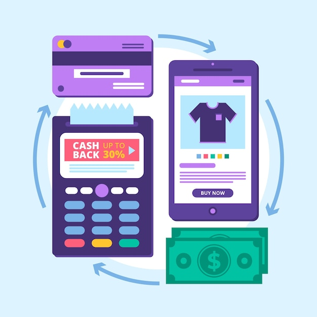 Cashback concept phone app Free Vector