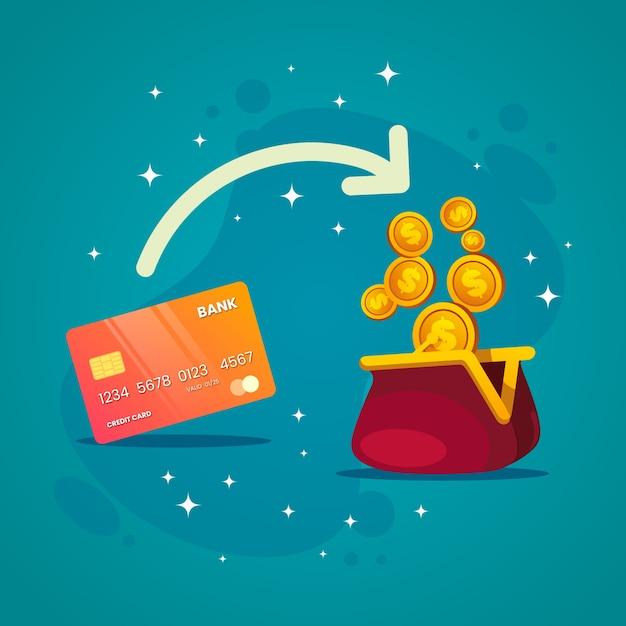 Concetto di cashback per il tema dello shopping Vettore gratuito