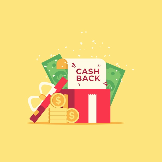 Cashback concept with coins and banknotes Free Vector
