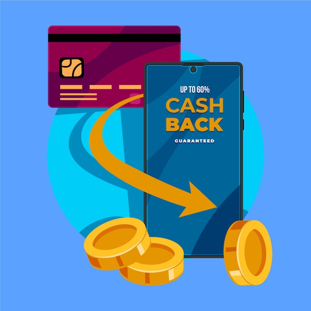 Cashback concept with credit card and mobile phone Free Vector