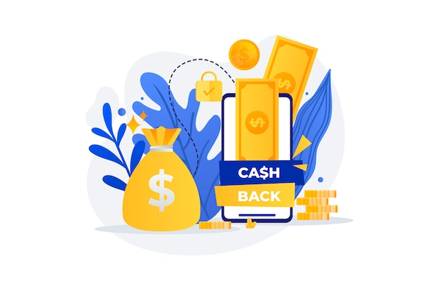 黄金の紙幣とキャッシュバックのコンセプト 無料ベクター