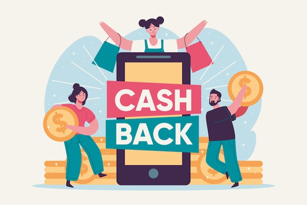 Cashback concept with people and coins Free Vector