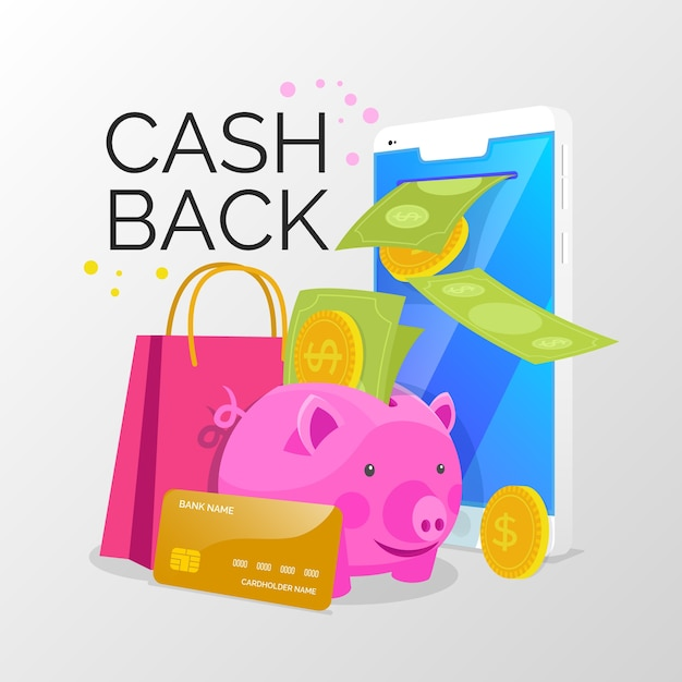 Cashback concept with piggy bank and discount Free Vector