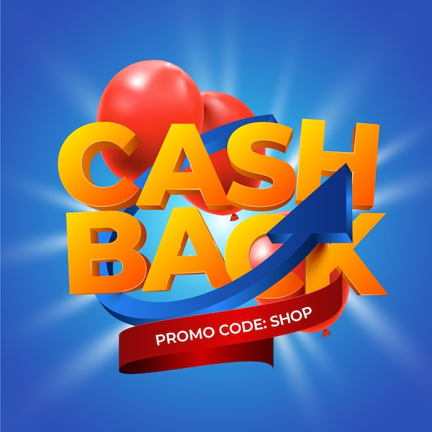 Cashback concept with promo code Free Vector