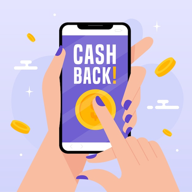 Cashback concept with smartphone Free Vector