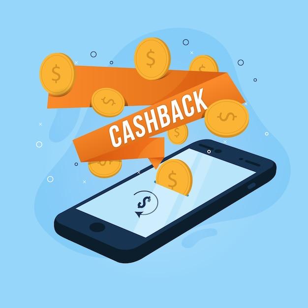 Дизайн cashback с деньгами Бесплатные векторы