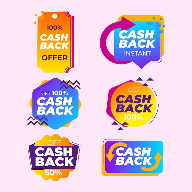 Пакет для сбора этикеток cashback Бесплатные векторы