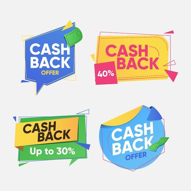 Набор для сбора этикеток cashback Бесплатные векторы