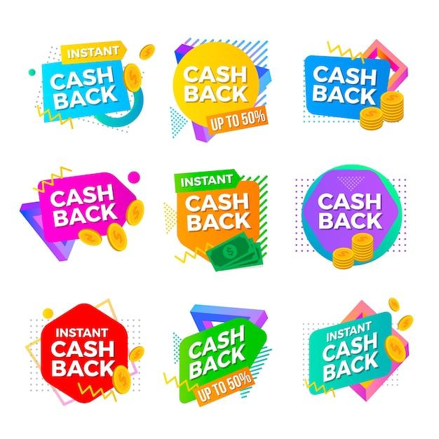 Шаблон коллекции cashback label Бесплатные векторы